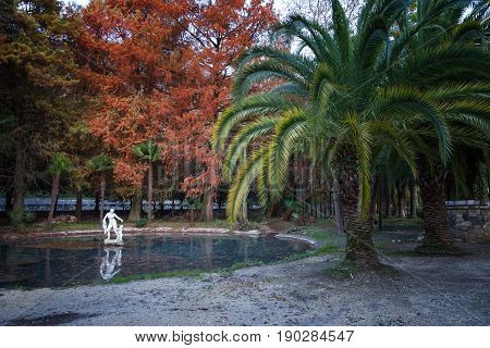 Old park a small pond with a statue among palm trees. Gagra. Abkhazia