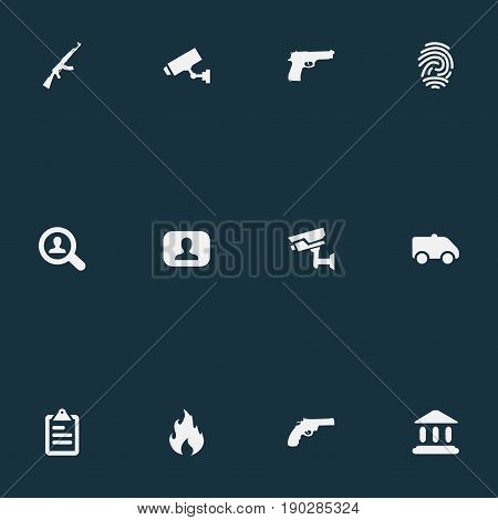 Vector Illustration Set Of Simple Offense Icons. Elements Blaze, Judicial House, Safety And Other Synonyms Governemental, Crime And Police.