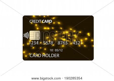 Plastic credit card with unique design. NFC chip. Vector illustration.