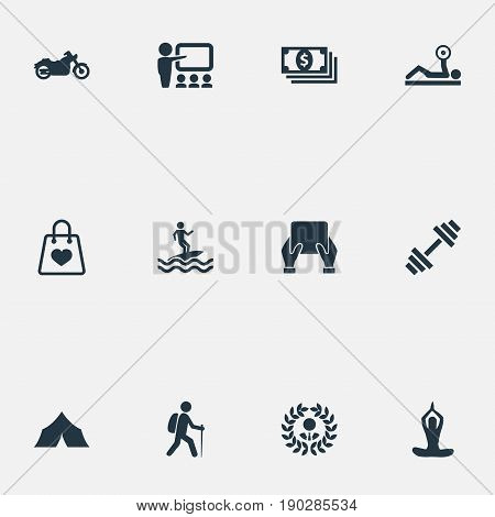 Vector Illustration Set Of Simple Yoga Icons. Elements Backpacker, Meditation, Victory And Other Synonyms Tourist, Retail And Holding.
