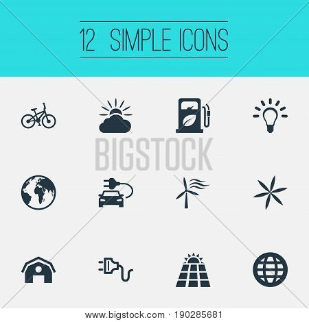 Vector Illustration Set Of Simple Power Icons. Elements Automobile Fuel, Weather, Earth And Other Synonyms Blossom, Farm And Battery.