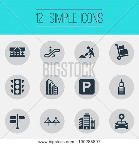 Vector Illustration Set Of Simple City Icons. Elements Airport Cart, Location, Megapolis And Other Synonyms Tower, Cityscape And Stoplight.