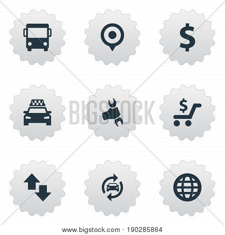 Vector Illustration Set Of Simple Public Icons. Elements Auto Service, Professional Mechanic, Cab And Other Synonyms Opposite, International And Arrows.