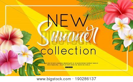 Summer collection banner design with tropical flowers and foliage hibiscus, plumeria and exotic foliage. Vector illustration