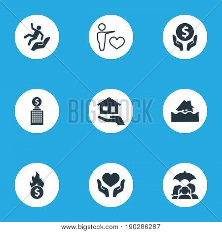 Vector Illustration Set Of Simple Safeguard Icons. Elements Bankroll, Reliability, Protect From Torrent And Other Synonyms Health, Bank And Slide.
