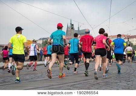 Runners Participating In The Prague International Marathon