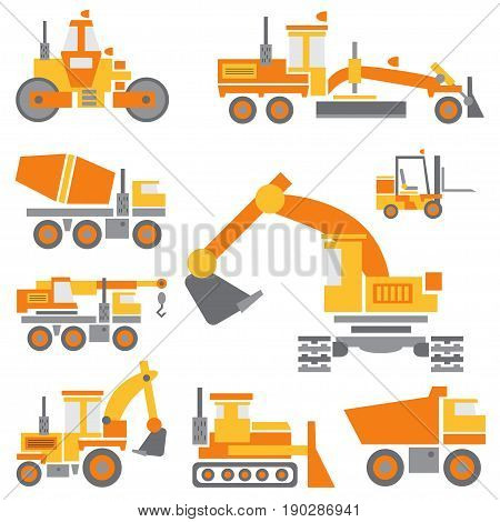 Flat color vector icon construction machinery set with bulldozer, crane, truck, excavator, forklift, cement mixer, tractor, roller, grader Industrial style