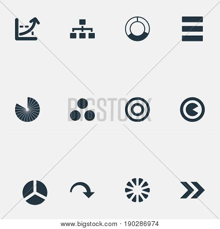 Vector Illustration Set Of Simple  Icons. Elements Ahead, Progress, Piece And Other Synonyms Circle, Piece And Circular.