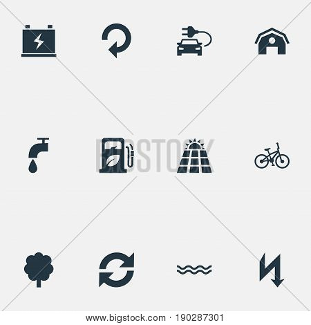 Vector Illustration Set Of Simple Power Icons. Elements Automobile Fuel, Barn, Sun Power And Other Synonyms Petrol, Farm And Ecology.