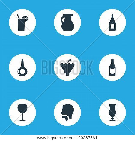 Vector Illustration Set Of Simple Drinks Icons. Elements Alcohol, Hydration, Pitcher And Other Synonyms Grapes, Hydration And Wine.