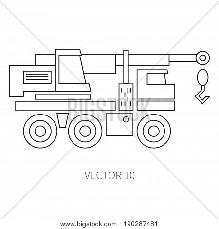 Line flat vector icon construction machinery - crane. Industrial style. Road. Construction machinery. Building. Business. Engineering. Diesel. Power Illustration texture for design wallpaper