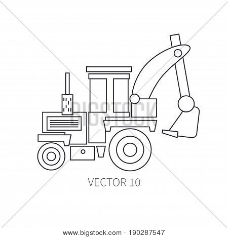 Line flat vector icon construction machinery - tractor. Industrial style. Road. Construction machinery. Building. Business. Engineering. Diesel. Power Illustration texture for design wallpaper