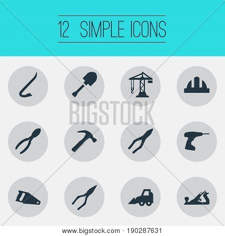 Vector Illustration Set Of Simple Architecture Icons. Elements Jimmy, Pliers, Drill And Other Synonyms Clipping, Hardhat And Hammer.