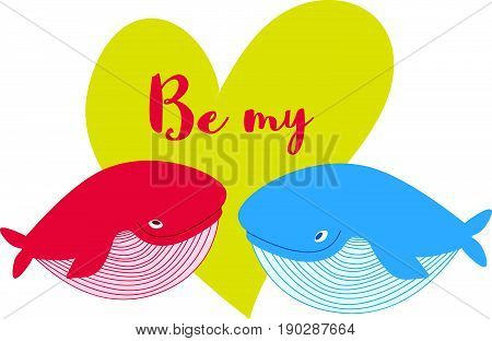 Cartoon whale vector card with hearts..Cute happy ocean whale. Lovely childish card. Smiling whale. Whale in love..Greeting card with a whale. Cute Be my card..Valentines day background