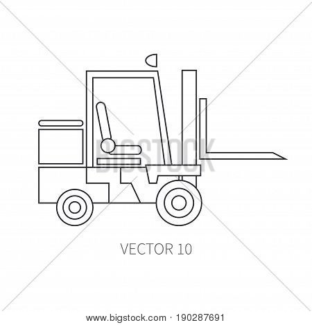 Line flat vector icon construction machinery forklift. Industrial style. Road. Construction machinery. Building. Business. Engineering. Diesel. PowerIllustration texture for design wallpaper
