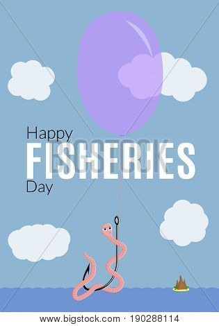 Funny fisheries greeting illustration. Vector card with congratulatory text worm on the hook flying in the sky on balloon.