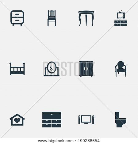 Vector Illustration Set Of Simple Furnishings Icons. Elements Bathroom, Looking-Glass, Dwelling And Other Synonyms Closet, Locker And Table.