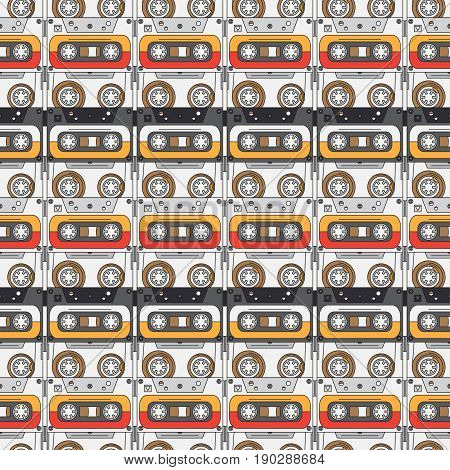 Seamless background pattern in hipster style with audiocassette. Music. Sound. Retro. Magnetic tape. Analogue multimedia technology. Entertainment. Vector illustration texture for design, wallpaper.