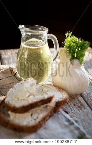 Sandwich With Cheese, Fennel, Green Smoothie In A Jar