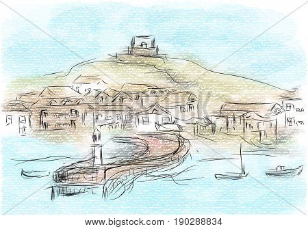 st ives abstract illustrtion of city on multicolor background