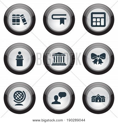 Vector Illustration Set Of Simple Education Icons. Elements Bookstore, Christmas Ornaments, Globe And Other Synonyms Row, Globe And Lecture.