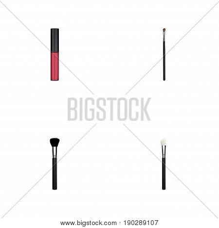 Realistic Powder Blush, Fashion Equipment, Eye Paintbrush And Other Vector Elements. Set Of Greasepaint Realistic Symbols Also Includes Tassel, Blush, Liquid Objects.