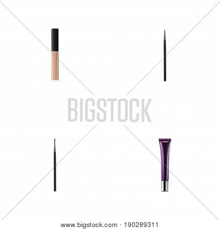 Realistic Day Creme, Cosmetic Stick, Brush And Other Vector Elements. Set Of Cosmetics Realistic Symbols Also Includes Makeup, Cosmetics, Lipstick Objects.