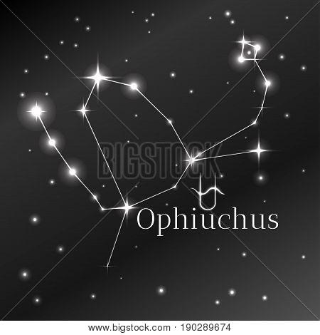 Secret symbol of Ophiuchus zodiac sign, horoscope, vector art and illustration. Star constellation.