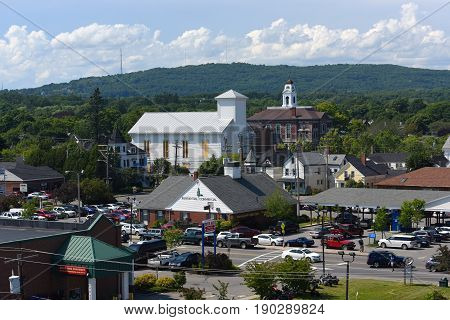 ROCKLAND, ME, USA - AUG. 1, 2015: Rockland historic downtown aerial view including the District Court and Knox County Courthouse, Rockland, Maine, USA.