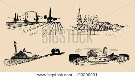 Vector village landscapes illustrations set. Hand drawn russian countryside. Sketches of farm villa, homestead in fields and hills.