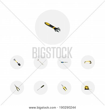 Realistic Wrench, Chisel, Spanner And Other Vector Elements. Set Of Instruments Realistic Symbols Also Includes Clippers, Instrument, Screwdriver Objects.