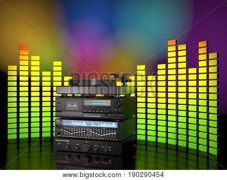 Stack of sound radio equipment on white background (3d illustration)