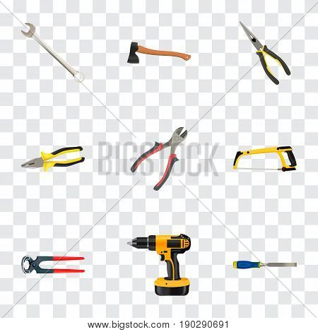 Realistic Electric Screwdriver, Tongs, Forceps And Other Vector Elements. Set Of Tools Realistic Symbols Also Includes Saw, Chisel, Ax Objects.