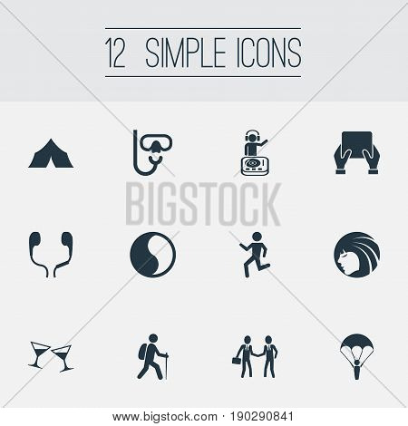 Vector Illustration Set Of Simple Yoga Icons. Elements Ballance, Night Club, Backpacker And Other Synonyms Waking, Climbing And Tablet.