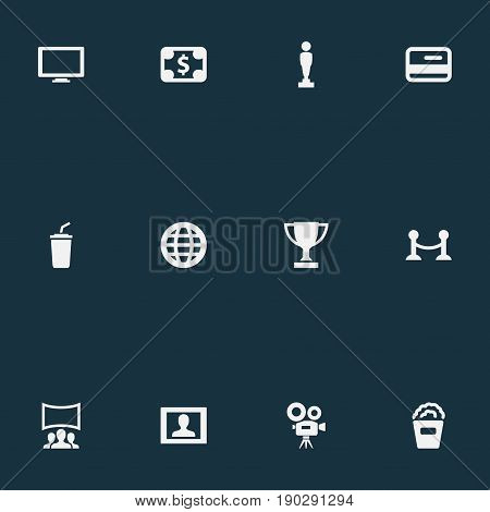 Vector Illustration Set Of Simple Movie Icons. Elements Trophy, Soda, International And Other Synonyms Premiere, Oscar And Snack.