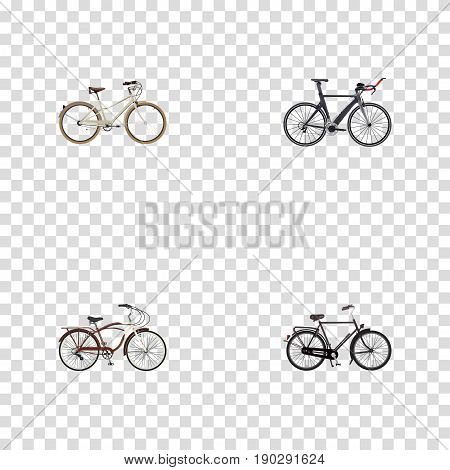 Realistic Training Vehicle, Old, Journey Bike And Other Vector Elements. Set Of Bicycle Realistic Symbols Also Includes Bike, Cruise, Triathlon Objects.