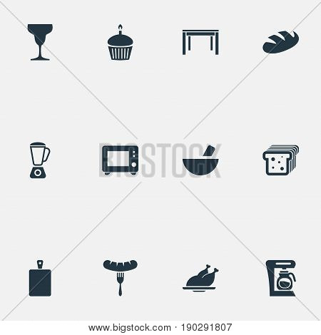 Vector Illustration Set Of Simple Gastronomy Icons. Elements Bread, Chopping Wood, Grinder And Other Synonyms Sausage, Grain And Tumbler.