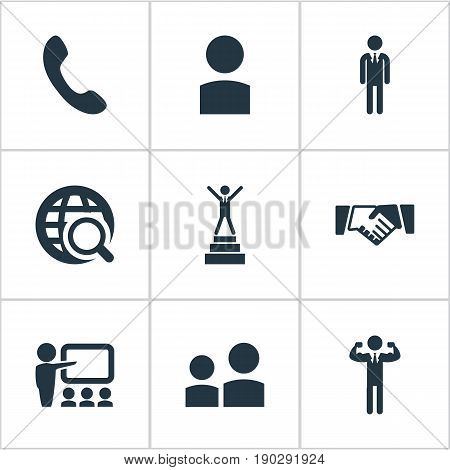 Vector Illustration Set Of Simple  Icons. Elements Account, Team Lider, Friendship And Other Synonyms Career, Call And Account.