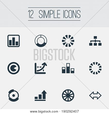 Vector Illustration Set Of Simple  Icons. Elements Bowl, Contour, Pie Bar And Other Synonyms Data, Bowl And Plan.