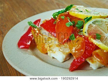 Psari Plaki - Greek-Style Baked Fish. close up