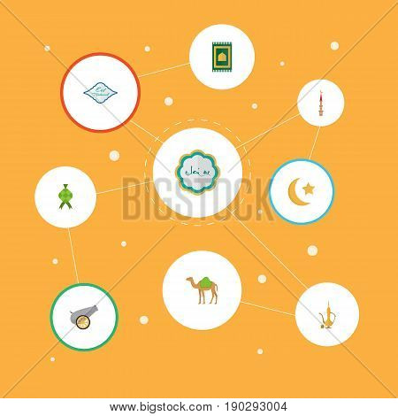 Flat Icons Arabic Calligraphy, Prayer Carpet, Mosque And Other Vector Elements. Set Of Ramadan Flat Icons Symbols Also Includes Raya, Ramadan, Decorative Objects.