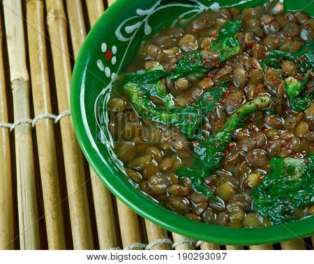 Adas Bsbaanegh Lentil And Spinach Soup. close up