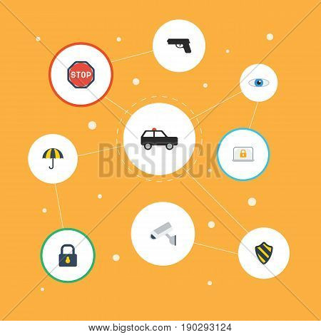 Flat Icons Camera, Vision, Shield And Other Vector Elements. Set Of Security Flat Icons Symbols Also Includes Lock, Sign, Look Objects.