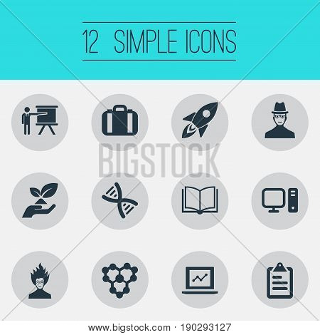 Vector Illustration Set Of Simple Science Icons. Elements Briefcase, Molecule, Checklist And Other Synonyms Genetic, Data And Library.