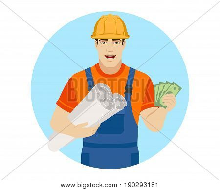 Builder holding the project plans and showing cash money. Portrait of builder character in a flat style. Vector illustration.