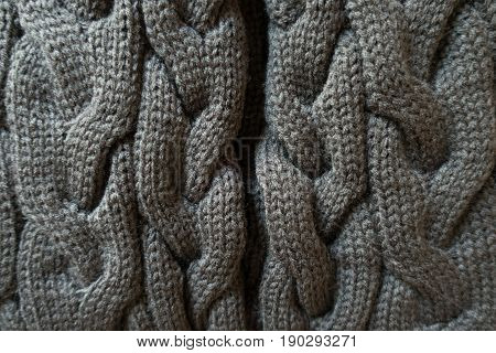 Gray Knit Fabric With Plait Pattern From Above