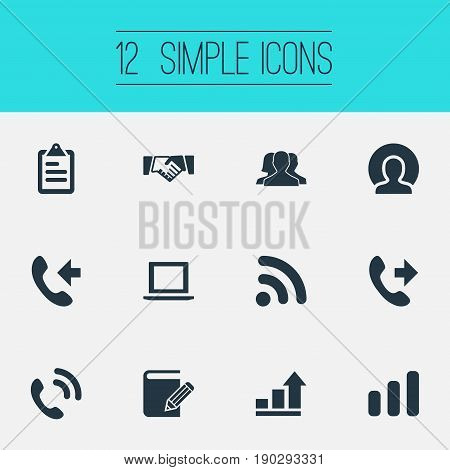 Vector Illustration Set Of Simple Company Icons. Elements Telephone, Growth, Computer And Other Synonyms Agreement, International And Laptop.