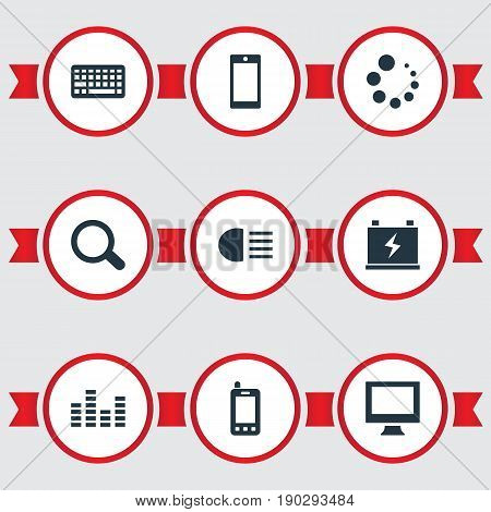 Vector Illustration Set Of Simple Technology Icons. Elements Accumulator, Waiting, Keypad And Other Synonyms Keypad, Battery And Phone.
