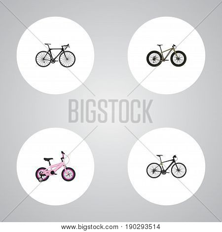 Realistic Bmx, Exercise Riding, Hybrid Velocipede And Other Vector Elements. Set Of Bike Realistic Symbols Also Includes Bmx, Bike, Training Objects.