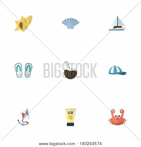 Flat Icons Slippers, Hat, Conch And Other Vector Elements. Set Of Summer Flat Icons Symbols Also Includes Sail, Sun, Slippers Objects.